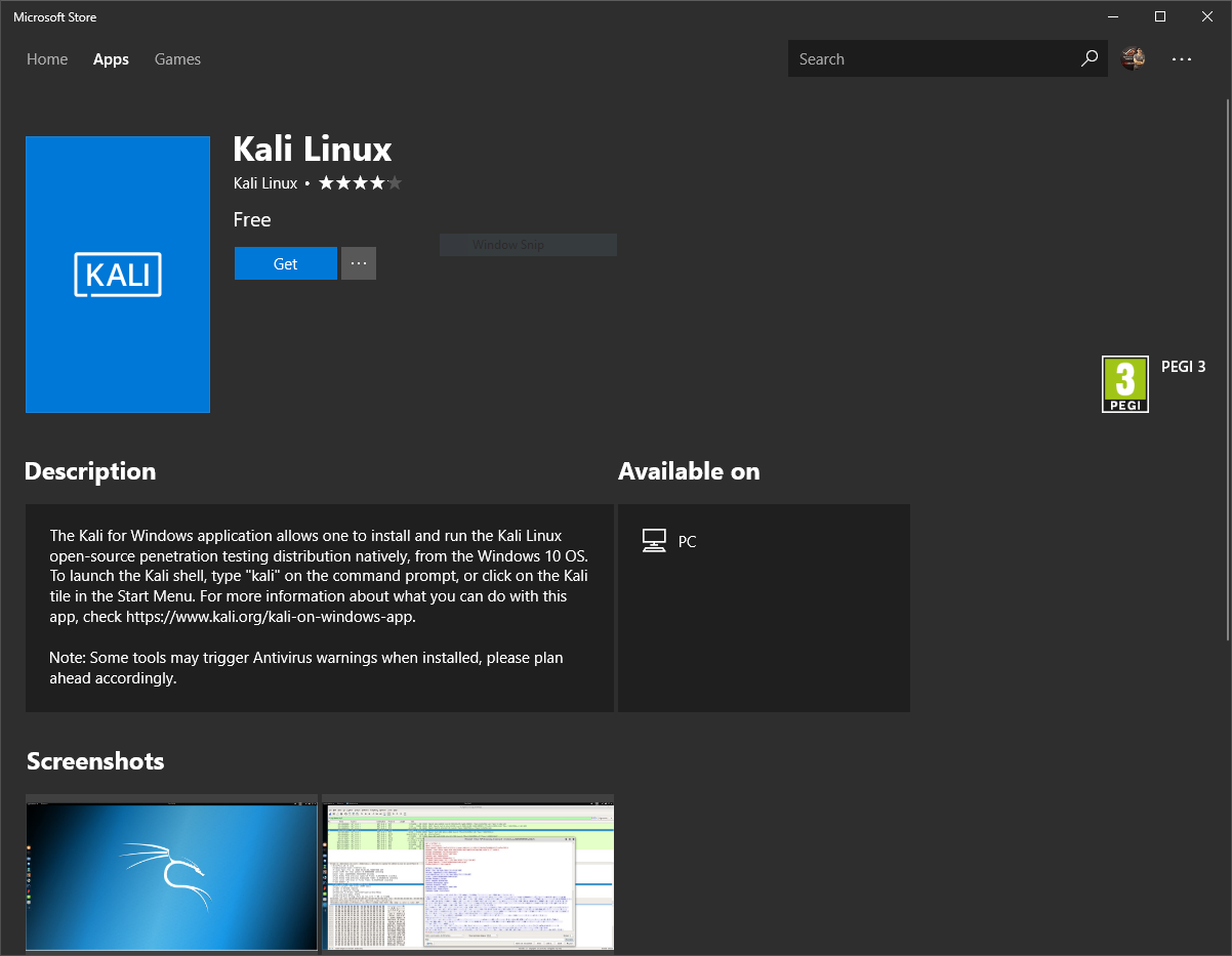 Kali Linux made available in Windows App Store